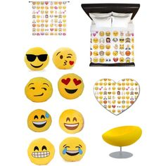 Emoji Inspired Bedroom by madisoncromer on Polyvore featuring interior, interiors, interior design, home, home decor, interior decorating, Tisettanta and bedroom