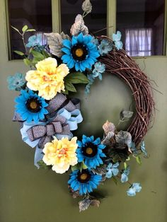 Rustic Country Aqua Sunflower Spring/Summer Grapevine Wreath for your Front Door