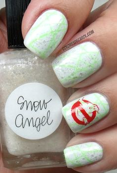 Snow Angel ... stamped with CG Kiwi Cool-Ada and konad  special polish red, using the plates BM316 and XL-U