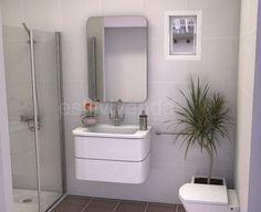 Diseño baño 3m2. Alicatado en blanco y pavimento en color tabaco. #Reformas baños Vanity, Mirror, Bathroom, Furniture, Design, Home Decor, White People, Home, Colors