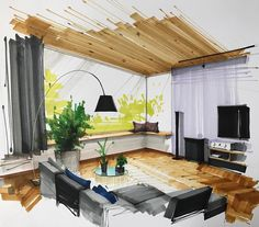 Home Decoration Cheap Ideas Interior Architecture Drawing, Interior Design Renderings, Drawing Interior, Interior Rendering, Interior Sketch, Interior Design Companies, Home Interior Design, Interior And Exterior, Architecture Design