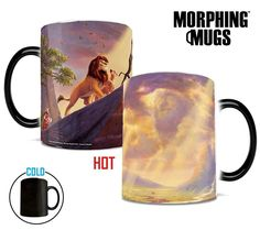 Bring the magic of Disney's The Lion King to your morning coffee with this Morphing Mugs™ heat-sensitive mug. This collectible features an image of Thomas Kinkade's panoramic painting, The Lion King, done in Kinkade's instantly recognizable, luminous style. The exterior of this officially licensed 11oz mug transforms from black as hot liquid is added, revealing the hidden image in full vivid colors.