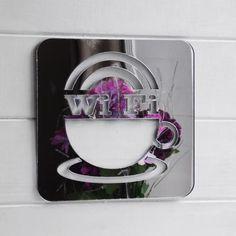 WIFI & Coffee Cup Square Acrylic Mirror Sign - Suave Petal Acrylic Mirror, Home Signs, Coffee Cups, Wifi, Coffee Mugs, Coffee Cup