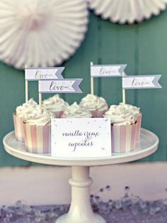 "Embellish wedding cupcakes by attaching these printable ""love"" flags to white lollipop sticks. Display on a pretty cake plate to add height to your dessert table. Diy Wedding Cupcakes, Bridal Shower Cupcakes, Wedding Cupcake Toppers, Wedding Sweets, Wedding Labels, Unique Wedding Favors, Diy Wedding Decorations, Wedding Ideas, Cupcake Flags"