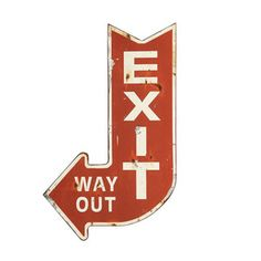 Metal Exit Sign - This distressed metal exit arrow is farmhouse funky at it's finest. We know you'll agree it's farmhouse fabulous! Metal Exit Sign measures 13 x 22 Metal Wall Decor, Metal Wall Art, Wall Art Decor, Iron Wall, Wall Murals, Dot And Bo, Exit Sign, Arrow Signs, Urban Barn