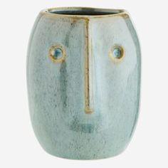 Light Green Natural Stoneware Flower Pot with Face Imprint by Madam Stoltz. Additional info: Colours and imprint may vary. Grands Pots, Grands Vases, House Doctor, Mini Vase, Grand Vase En Verre, Lavender Room, Vase Design, Vase Crafts, Little Plants