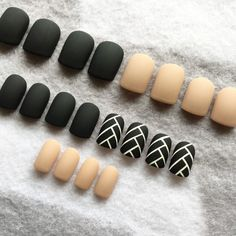 New! Black and Nude Matte Nails with Fishtail design