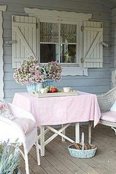 Country charm - love the shutters    I would love to frame by kitchen window from the inside like this.