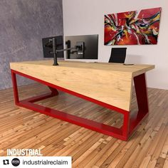 Our Modern asymmetric waterfall edge desk. IndustrialReclaim.com #office #minimal #angles #industrialfurniture #modernfurniture #design #art #asymmetrical #decor #designer #interior #table #conference #industrial #artofchi #creative #steel #interiordesigner #interiordesign #modern #office #officedecor #colorfull #moderndesign #modernarchitecture #chicago #architecturelovers #chicagogram #desk
