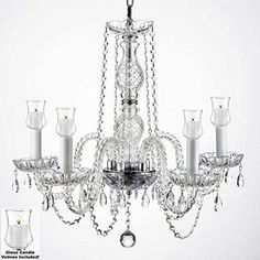 """Crystal Chandelier W/ Candle Votives H.25"""" W.24"""" For Indoor / Outdoor Use Great For Outdoor Events Hang From Trees / Gazebo / Pergola / Porch / Patio / Tent - G46-B31/384/5"""