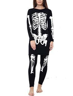 a7a742195d88 F&F Womens Ladies Halloween Skeleton Print Top Legging Bo... Plus Size  Costume,