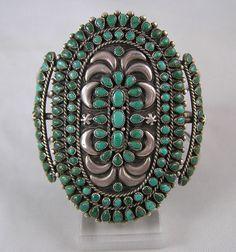 Vintage Zuni Indian Cluster Turquoise Bracelet