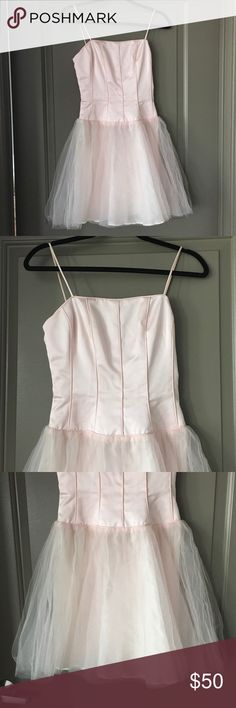 Ballerina style party dress 👗 Pink ballerina style party dress. Silk fitted tops with back zipper. Size Small. Hits above the knees.Prefect party dress! De Laru Dresses