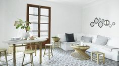 wall to wall cement tile living room dining open floor plan floors