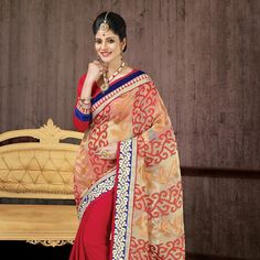 Luscious Beige and Red Color Dazzling Saree Be The Sunshine Of Everybody'S Eyes Dressed With This Enticing Beige and Red Brasso, Chiffon Saree. Art Silk Sarees, Silk Sarees Online, Indian Dresses, Indian Outfits, Party Wear Sarees Online, Chiffon Saree, Indian Ethnic Wear, Blouse Online, Beautiful Saree