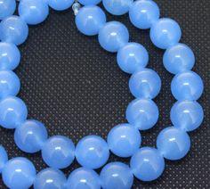 Charm Round Blue Jade Gemstone Beads 10mm One Strand by backgard, $2.95
