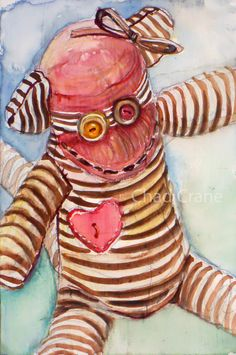 Watercolor Original Painting Sock Monkey by MaddiesMinions on Etsy, $20.00