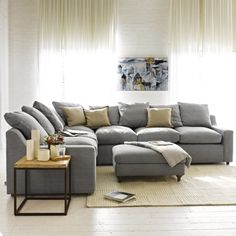 "CLOUD CORNER SOFA - How comfy is this sofa? The clue is in the name. We like the way the back cushions are of differing sizes and have ""box edges"" as it lifts the whole feel to a classy, laid-back level."