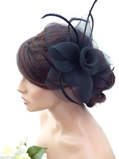 Elegant Black Large Flower Mesh Net Hair Clip Grip Fascinator Feathers Races