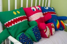 Pajama Eaters - incredibly cute storage for kids' pajamas. How cute would these be on the bed?