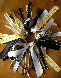 Yellow Softball Hair Bow Gold Black and White by BlinginBowMama Softball  Hair Bows 782f170d035