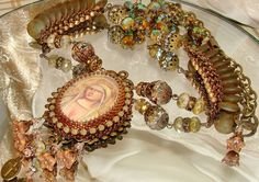 Mary Ave Maria rosary bead embroidery pendant necklace Pamelia Designs