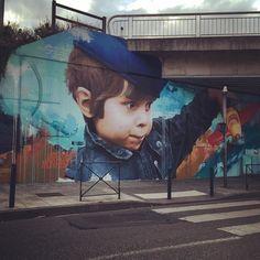 Pont St Exupery in #Toulouse #portrait #kid #face #drawing #painting #mural #wallart #sprayart #spraypaint #arteurbano #streetart #graphicdesign #contemporaryart #design #graffiti #awesome