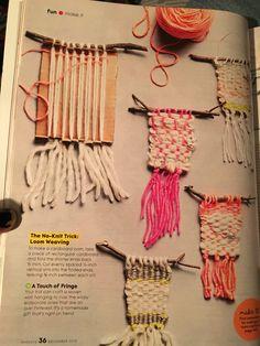 Weaving Projects, Weaving Art, Weaving Patterns, Loom Weaving, Tapestry Weaving, Diy For Kids, Crafts For Kids, Arts And Crafts, Yarn Crafts