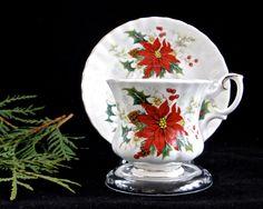 Vintage Royal Albert Poinsettia Teacup and Saucer • England Bone China Christmas Holiday Design by KatesAtticBargains on Etsy