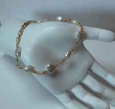 Wire Wrapped White Coin Pearl Bracelet by BlackstreaksBeads, $69.00