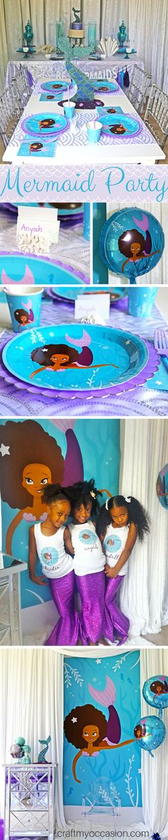 African American MERMAID PARTY! Party supplies celebrating children of color. We create party supplies especially for children of color, which helps them to develop a positive and loving self-image.