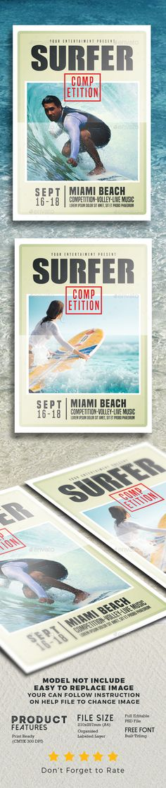 Surfing Competition flyer \ poster Event flyers, Flyer template - competition flyer template