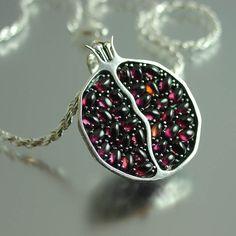 JUICY POMEGRANATE silver garnet pendant by WingedLion on Etsy, $400.00