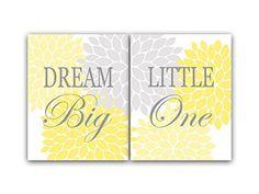 UNFRAMED PRINTS (CHOOSE YOUR SIZES) - Dream Big Little One, Nursery Wall Art, Kids Wall Art, Yellow and Grey Nursery, Flower Burst Art Girls Room Decor - KIDS82