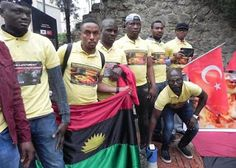 Some members of the Indigenous Peoples of Biafra, IPOB, staged a peaceful protest in Turkey on Saturday to demand their own country. Latest Nigeria News, Peaceful Protest, Trending Videos, Turkey, Sari, People, Country, Photos, Fashion