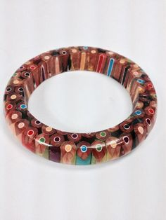 Colored Pencil Wood Bangle Bracelet by AATurning on Etsy