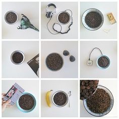 A collage of different in-office coffee roasts w/ random accessories  #coffee #collage #roasting #marketing