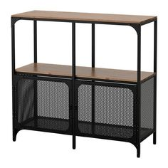 FJÄLLBO Stellingkast IKEA Deze rustieke kast van metaal en massief hout heeft geen achterwand; handig voor het hanteren van snoeren en stopcontacten.