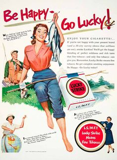 Vintage Lucky Strike ad woman fishing www.lodgemonster.com