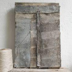 Mixed media artwork (32×48cm) - driftwood linen fabric yarn zinc metal