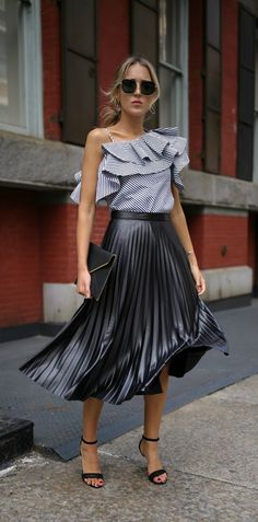 Under $100 Series // Black and white stripe one-shoulder asymmetric ruffle top, pleated leather midi skirt, black envelope clutch, black ankle-strap sandals + oversized sunglasses {Rebecca Minkoff, Vince Camuto, Bardot, Aqua, affordable fashion, under $100}