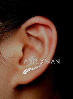 Leaf Ear Climber Leaf Ear Cuff Leaf Earrings Ear by Artlysian