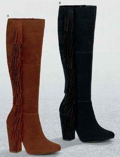 Botas de la marca Andrea. Botas con flecos tacon caudrado, botas de tubo largo, botas de moda para mujer, botas color cafe, botas color negro, botas de marca