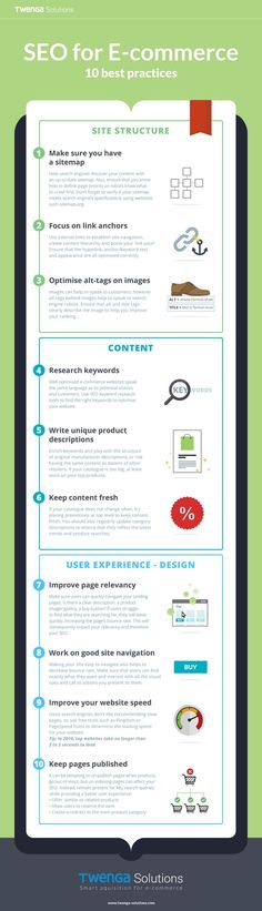 10 Onsite SEO Best Practices for Ecommerce Websites [Infographic] - SEO Marketing Tool - Marketing your keywords with SEO Tool. - SEO for E-commerce 10 best practices Be sure to include a site map focus on link anchors check your site speed and more. Search Engine Marketing, Seo Marketing, Marketing Digital, Business Marketing, Internet Marketing, Online Marketing, Affiliate Marketing, Business Tips, Seo Site