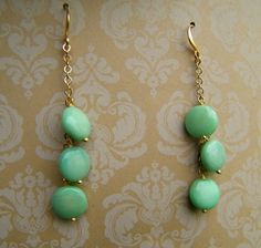 Seafoam Mint Green Earrings Seafoam Stone Dangle by cuppacoffee, $12.00