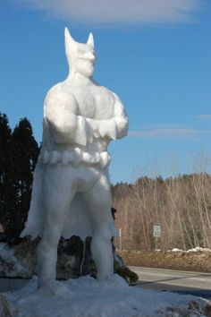 Two-story Batman snow sculpture  Last year this two-story tall Batman snow sculpture towered over the Totem Pole Ski Shop in Ludlow, Vermont.