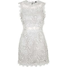 TOPSHOP Structured Lace Bodycon Dress found on Polyvore featuring polyvore, fashion, clothing, dresses, silver, lace cocktail dress, white cocktail dresses, body con dress, fitted cocktail dresses and fitted lace dress