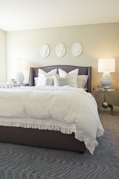 Soft green bedroom walls.