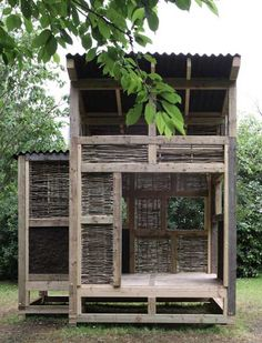 Takeshi Hayatsu and Kristin Trommler of London studio 6a Architects collaborated with students at Cardiff University to build a timber-framed tea house with wattle and daub panels.
