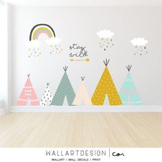 Tepee wall decals in pastel colors with rainbow ,rain clouds, and custom text 'stay wild'. Star Nursery, Nursery Wall Decals, Fal, Rainbow Nursery Decor, Tree Decals, Smooth Walls, Rain Clouds, Monogram Decal, Stay Wild